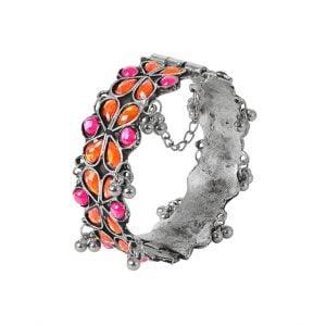 Oxidised Silver Pink Orange Stone Studded Floral Bangle- Adjustable Main Image