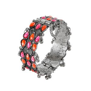 Oxidised Silver Pink Orange Stone Tear Drop Studded Bangle – Adjustable Main Image