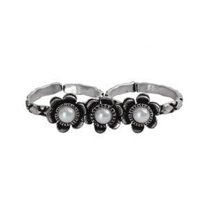 Oxidised Silver Stone Studded Dual Finger Ring – Adjustable Main Image