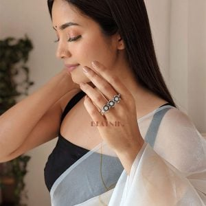Oxidised Silver Stone Studded Dual Finger Ring – Adjustable Lifestyle Image