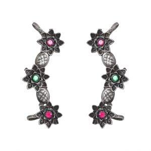 Silver Lookalike Brass Oxidised Flower Studded Earcuff Stud Earrings Main Image
