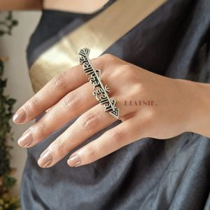 Silver Lookalike Boho Antique Musafir Statement Ring – Adjustable Lifestyle Image