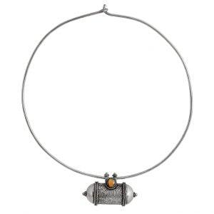 Silver Lookalike Brass Oxidised Afghani Tabeez Choker Hasli Necklace Main Image