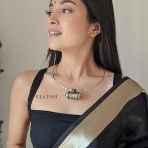 Silver Lookalike Brass Oxidised Afghani Tabeez Choker Hasli Necklace Lifestyle Image