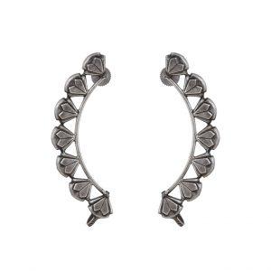 Silver Lookalike Brass Oxidised Classy Earcuff Stud Earrings Main Image