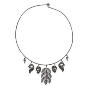 Silver Lookalike Brass Oxidised Contemporary Choker Hasli Necklace Main Image