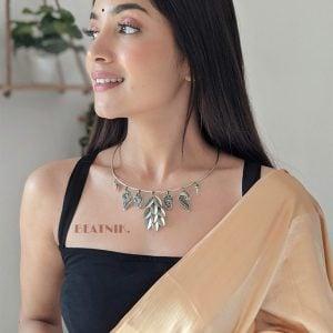Silver Lookalike Brass Oxidised Contemporary Choker Hasli Necklace Lifestyle Image