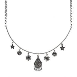 Silver Lookalike Brass Oxidised Dainty Motif Choker Hasli Necklace Main Image