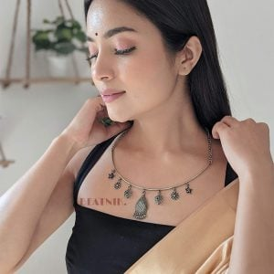 Silver Lookalike Brass Oxidised Dainty Motif Choker Hasli Necklace Lifestyle Image