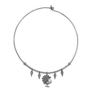 Silver Lookalike Brass Oxidised Dancing Peacock Choker Hasli Necklace Main Image