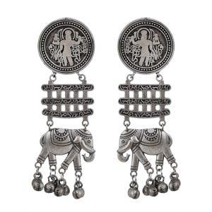 Silver Lookalike Brass Oxidised Elephant Motif Hanging Earrings Main Image