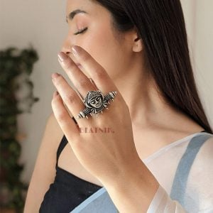Silver Lookalike Brass Oxidised Goddess Statement Ring – Adjustable Lifestyle Image