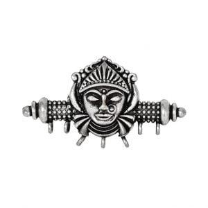 Silver Lookalike Brass Oxidised Goddess Statement Ring – Adjustable Main Image