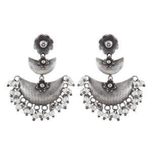 Silver Lookalike Brass Oxidised Handcrafted Hanging Earrings Main Image