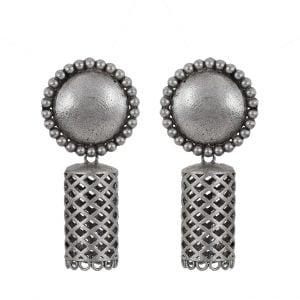 Silver Lookalike Brass Oxidised Jaali Round Jhumka Earrings Main Image