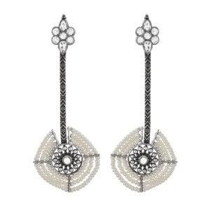 Silver Lookalike Brass Oxidised Long Pearl Stud Earrings Main Image
