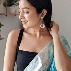 Silver Lookalike Brass Oxidised Long Pearl Stud Earrings Lifestyle Image