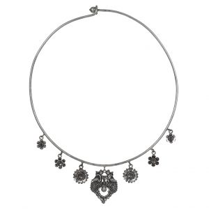 Silver Lookalike Brass Oxidised Motifs Choker Hasli Necklace Main Image
