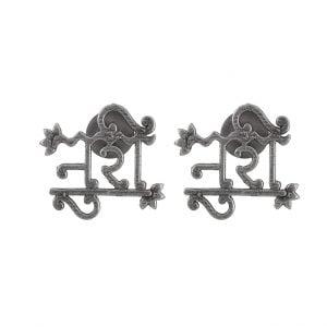 Silver Lookalike Brass Oxidised Noori Stud Earrings Main Image