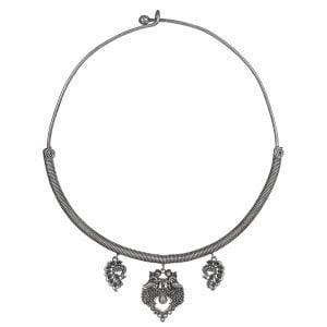 Silver Lookalike Brass Oxidised Sleek Choker Hasli Necklace Main Image