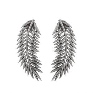Silver Lookalike Brass Oxidised Stylish Long Leaf Stud Earrings Main Image