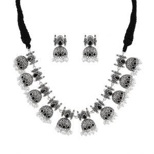 Afghani Silver Lookalike Brass Oxidised Choker Necklace Earrings Set Main Image