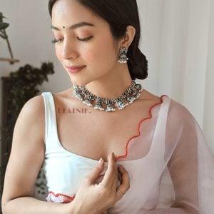 Afghani Silver Lookalike Brass Oxidised Choker Necklace Earrings Set Lifestyle Image