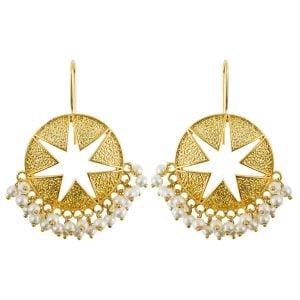 Gold Plated Star Dangler Hanging Earrings Main Image