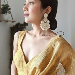 Gold Plated Traditional Kundan Pearl Beads Drop Earrings Lifestyle Image