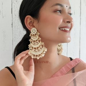 Gold Plated Traditional Pearl Kundan Beads Statement Hanging Earrings Lifestyle Image