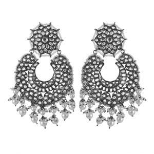 Kundan Pearl Statement Hanging Black Metal Earrings Main Image