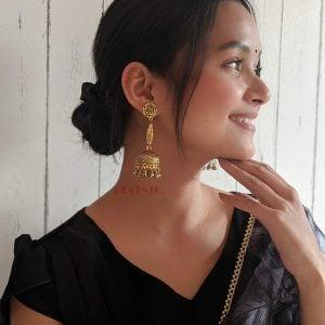 Oxidised Copper Plated Simple Ethnic Jhumki Earrings Lifestyle Image