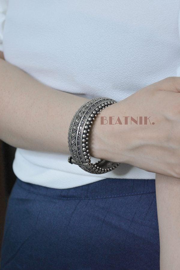 Oxidised Silver Brass Boho Bangle - Adjustable Lifestyle Image