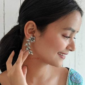 Oxidised Silver Floral Leaf Patterned Earcuff Stud Earrings Lifestyle Image