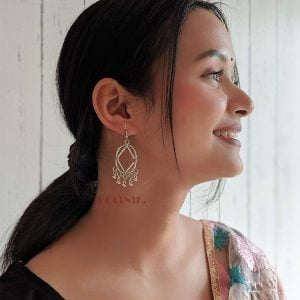 Oxidised Silver Geometric Hanging Earrings Lifestyle Image