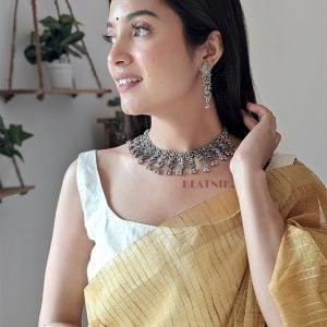 Oxidised Silver Mrigya Elegant Sleek Choker Necklace Earrings Set Lifestyle Image