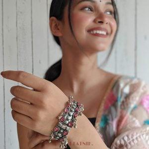 Oxidised Silver Pink Stone Studded Bangle – Adjustable Lifestyle Image