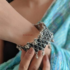 Oxidised Silver Plated Black Stone Studded Bangle- Adjustable Lifestyle Image
