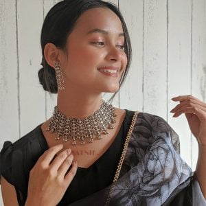 Oxidised Silver Statement Choker Necklace Earrings Set Lifestyle Image