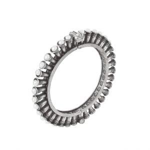 Silver Lookalike Brass Oxidised Banjaran Statement Bangle – Adjustable Main Image