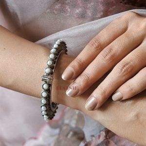Silver Lookalike Brass Oxidised Banjaran Statement Bangle – Adjustable Lifestyle Image