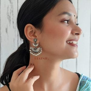 Silver Lookalike Brass Oxidised Handcrafted Hanging Earrings Lifestyle Image