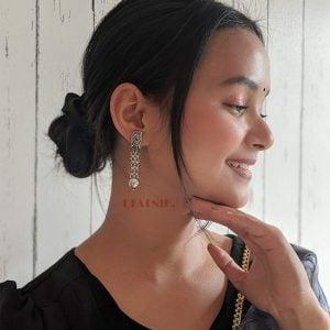 Silver Lookalike Brass Oxidised Hanging Earrings Lifestyle Image