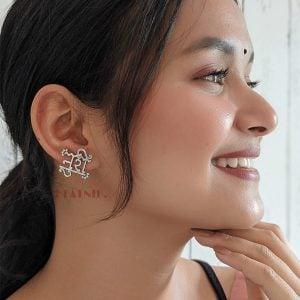 Silver Lookalike Brass Oxidised Noori Stud Earrings Lifestyle Image