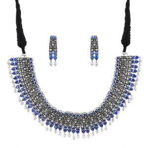 Silver Lookalike Brass Oxidised Royal Choker Necklace Earrings Set Main Image