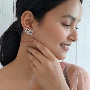 Silver Lookalike Brass Oxidised Sakhi Stud Earrings Lifestyle Image