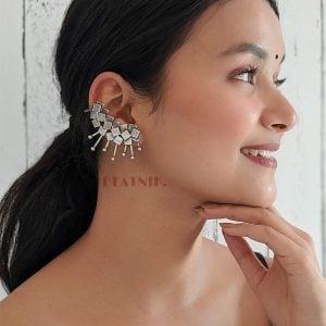 Silver Lookalike Brass Oxidised Statement Spike Earcuff Stud Earrings Lifestyle Image