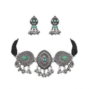 Silver Lookalike Brass Oxidised Tribal Vintage Choker Necklace Earrings Set Main Image