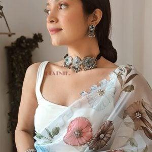 Silver Lookalike Brass Oxidised Tribal Vintage Choker Necklace Earrings Set Lifestyle Image