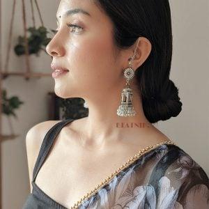 Oxidised Silver Pearl Beads Temple Jhumka Earrings Lifestyle Image